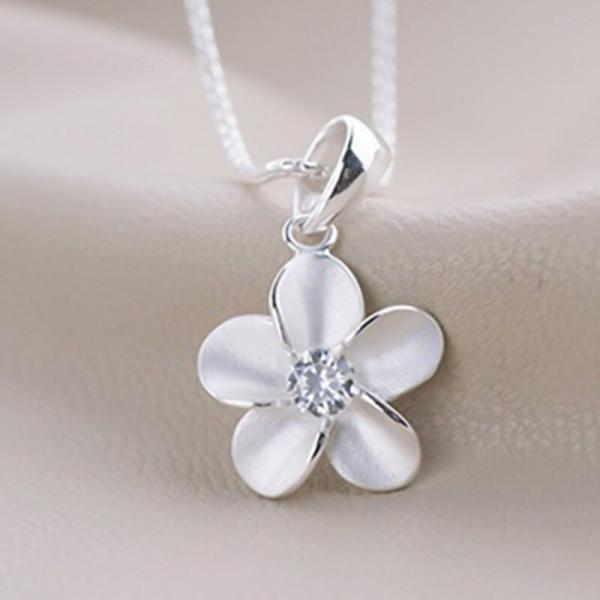 Silber Kette Blüte mit Glitzer