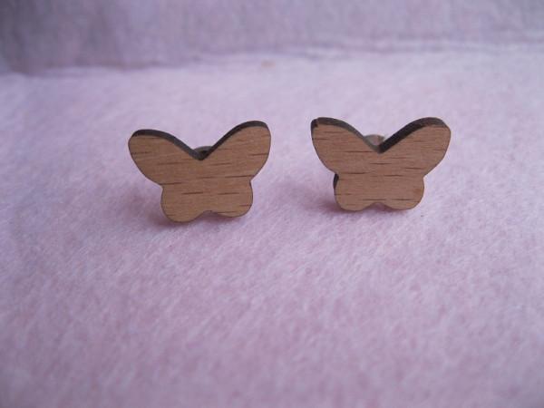 Ohrstecker aus Holz - Schmetterling