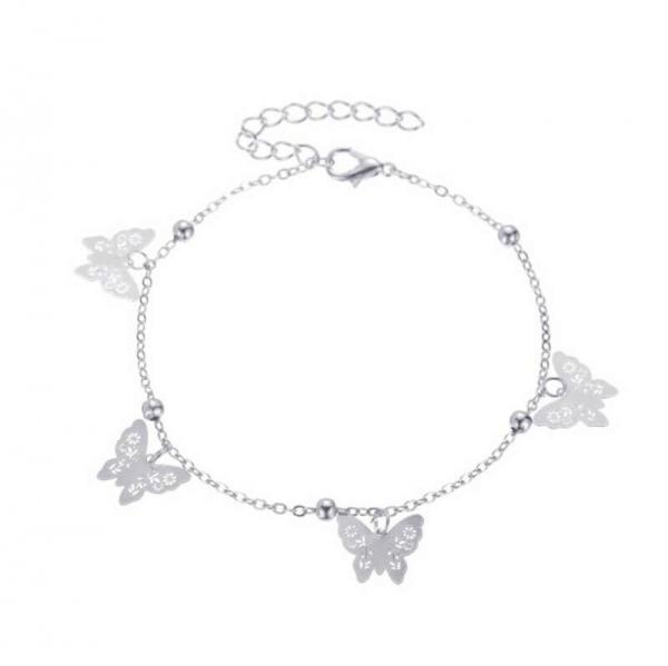 Fusskettchen Schmetterlinge - Silber