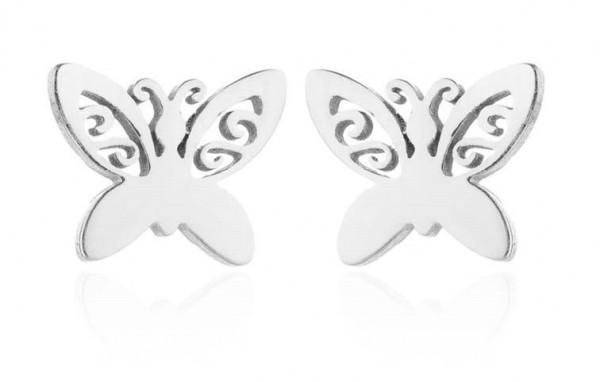 Ohrstecker Schmetterling minimalistisch - Silber