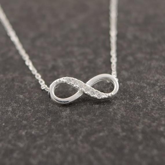 Silber Kette Glitzer Unendlich Infinity