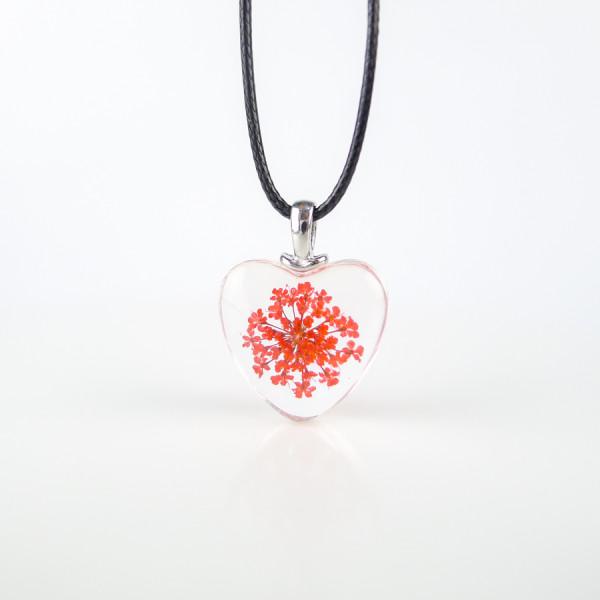 Leder Kette Blüte in Herz Glaskugel - Rot