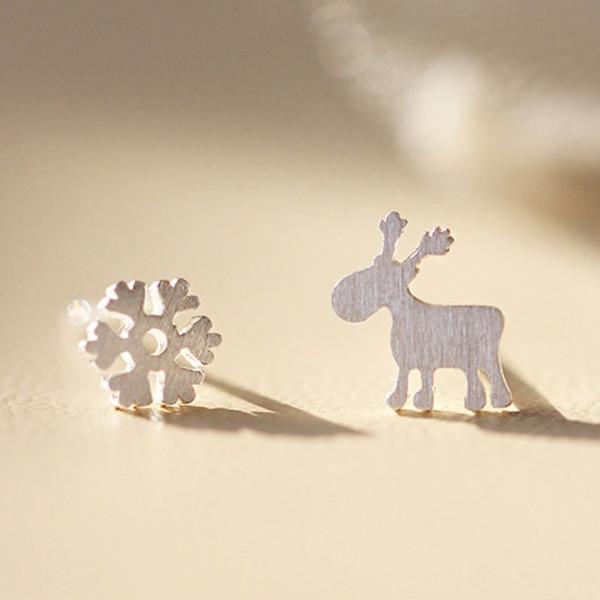 Ohrstecker Weihnachten Schneeflocke & Rentier - Silber