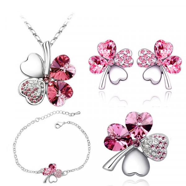 Brosche Glitzer Blume - rosa