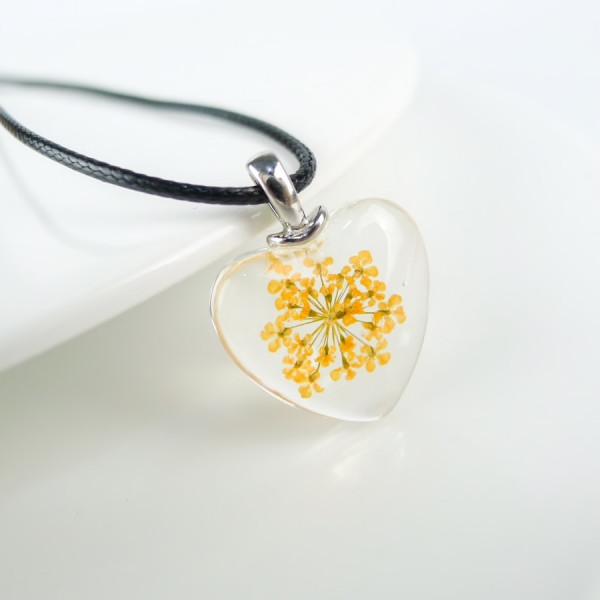 Leder Kette Blüte in Herz Glaskugel - Gelb