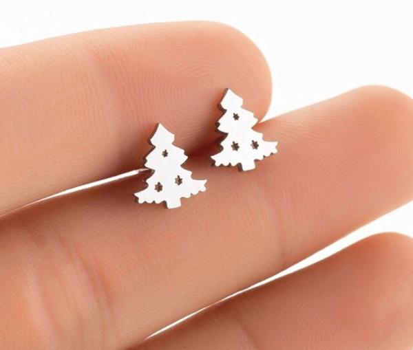 Ohrstecker Weihnachtsbaum minimalistisch - Silber