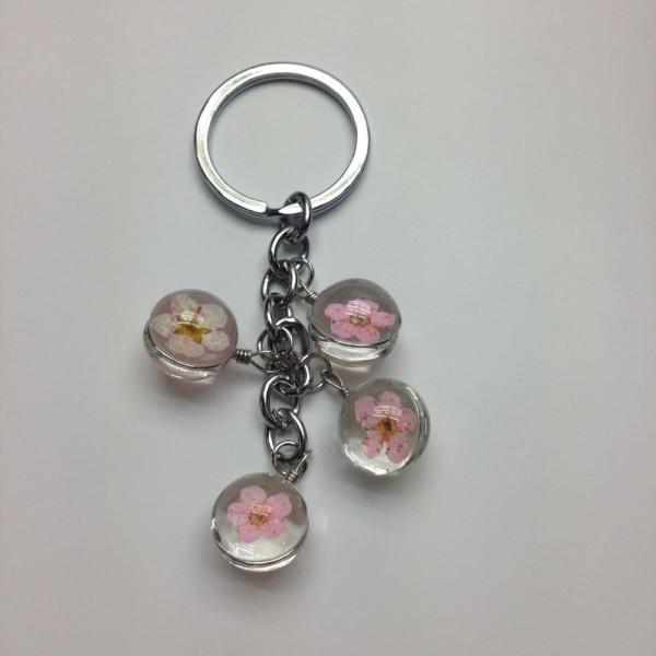 Schlüsselanhänger Kirschblüte in Glaskugel - Rosa
