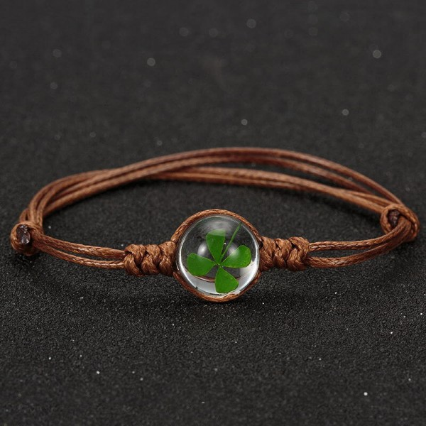 Armband echtes Kleeblatt - braun