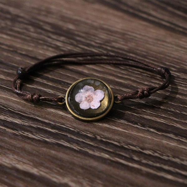 Armband braun echte Kirschblüte - Rosa