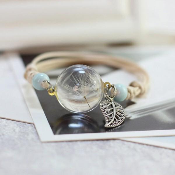 Armband echte Pusteblume mit Blatt