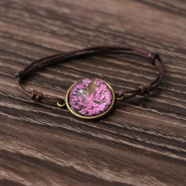 Armband braun echte Blume - Pink