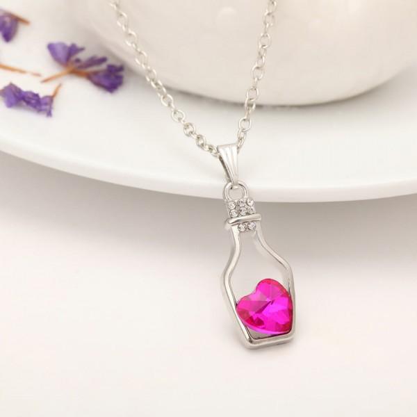 Silber Kette Herz in Flasche - Pink