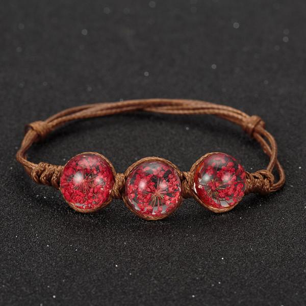Armband braun, 3 echte Blumen - Rot