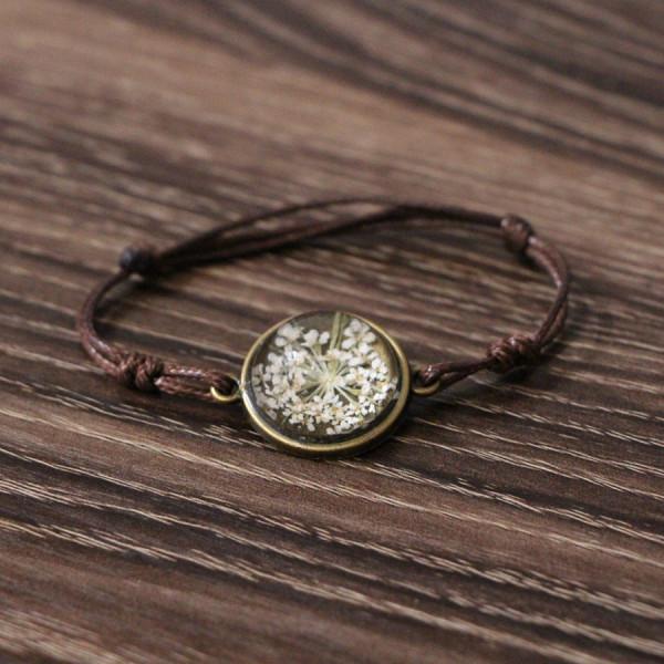 Armband braun echte Blume - Weiss