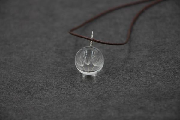 Leder Kette Pusteblume in Glaskugel - 3-fach