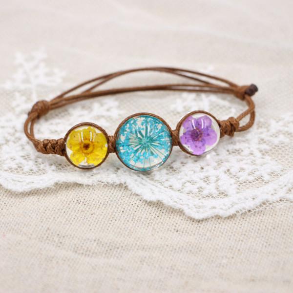Armband getrocknete Blumen - Zufallsfarben