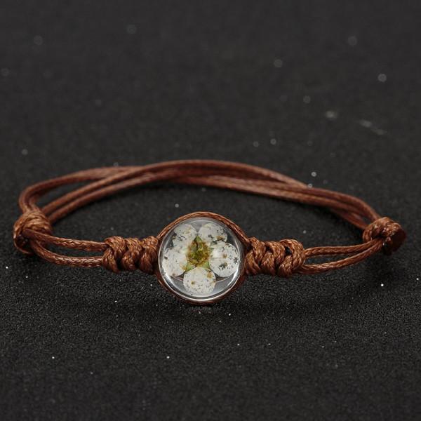 Armband braun, echte Kirschblüte - Weiss