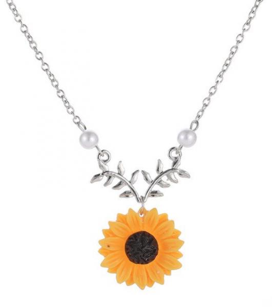 Silber Kette Sonnenblume mit Perle