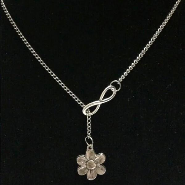 Silber Kette Blume Unendlich Infinity