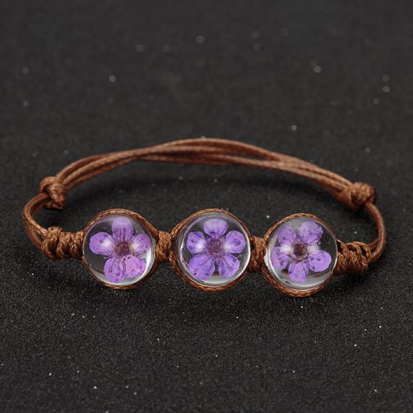 Armband braun, 3 echte Kirschblüten - Lila