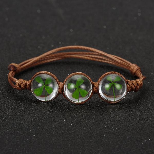 Armband 3 echte Kleeblätter - braun