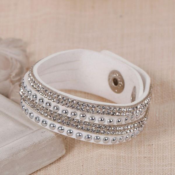 Armband Glitzer Steine - weiss