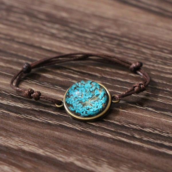 Armband braun echte Blume - Blau