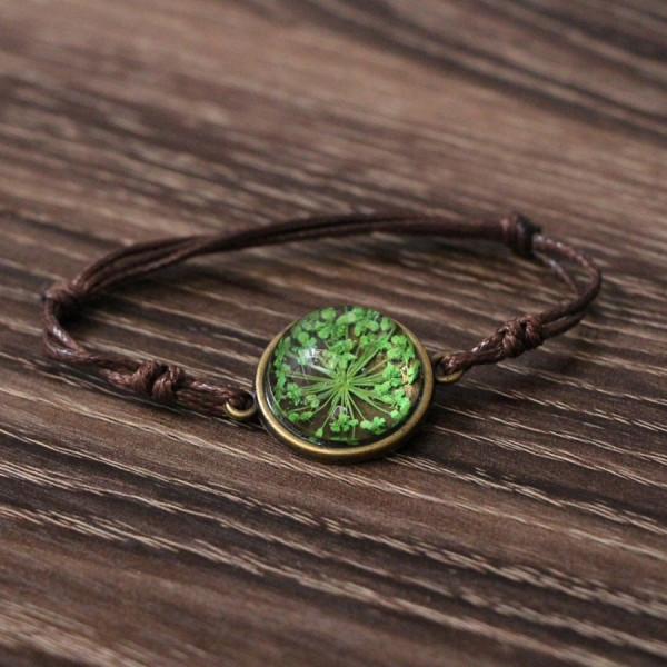 Armband braun echte Blume - Grün