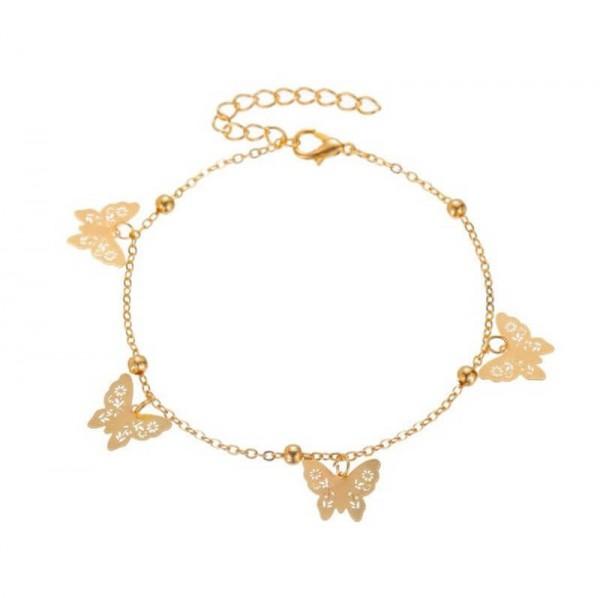 Fusskettchen Schmetterlinge - Gold