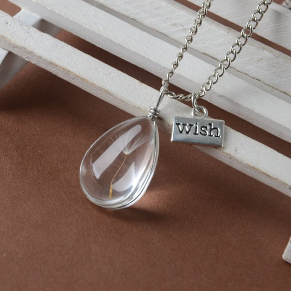 Silber Kette echte Pusteblume - wish - Tropfen