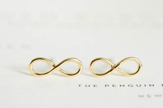 Ohrstecker Unendlich Infinity minimalistisch - Gold