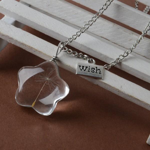 Silber Kette echte Pusteblume - wish - Stern