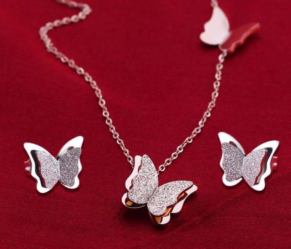 Set Halskette & Ohrstecker Schmetterlinge - Silber