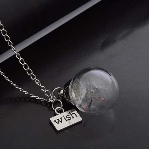Silber Kette echte Pusteblume in runder Glaskugel - wish