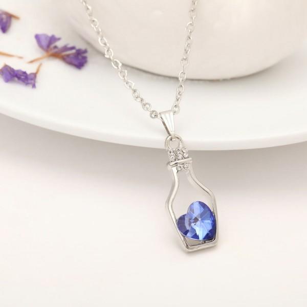 Silber Kette Herz in Flasche - Blau