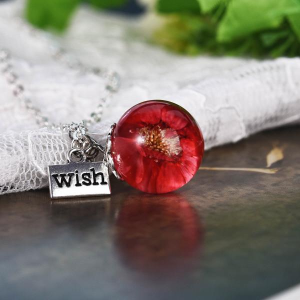 Silber Kette echte Blume in runder Glaskugel - wish - rot