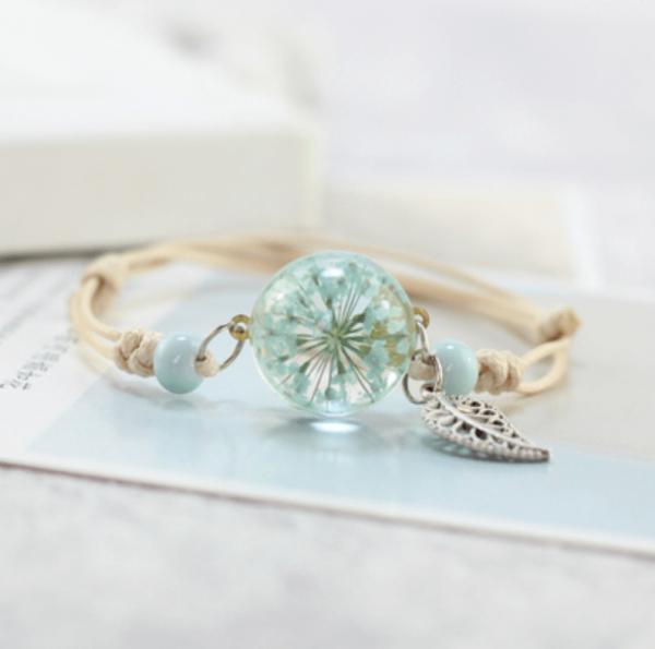 Armband getrocknete Blüte mit Blatt - Mint