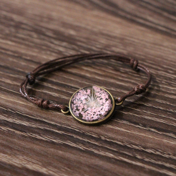 Armband braun echte Blume - Rosa