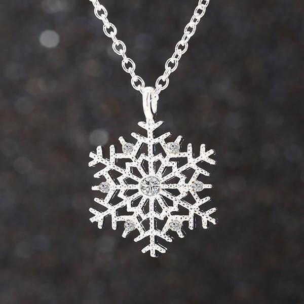 Silber Kette Schneeflocke mit Glitzer