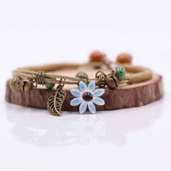 Armband Blume & Feder - Blau