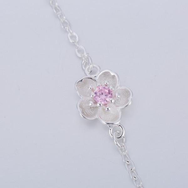 Armkettchen Kirschblüte Silber - rosa