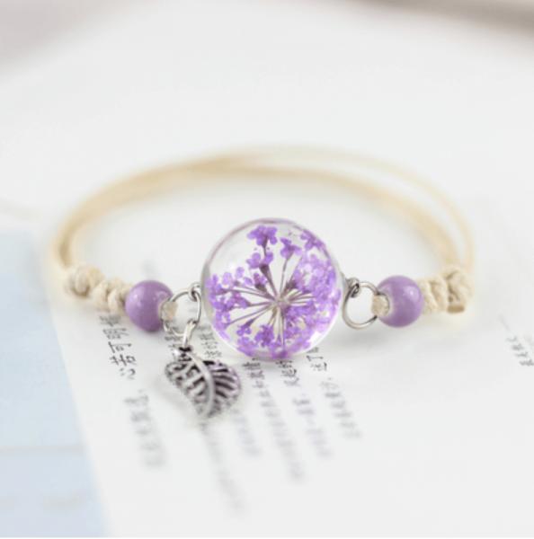 Armband getrocknete Blüte mit Blatt - Lila