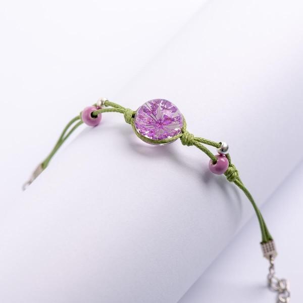 Armband grün Perlen mit Blume - Lila
