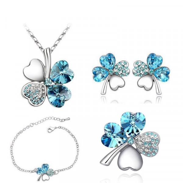 Brosche Glitzer Blume - blau