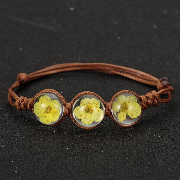 Armband braun, 3 echte Kirschblüten - Gelb