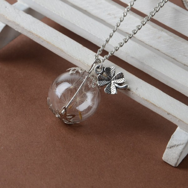 Silber Kette echte Pusteblume in Glaskugel - Kleeblatt