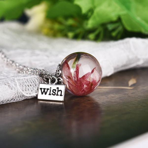Silber Kette echte Blume in runder Glaskugel - wish - rosa