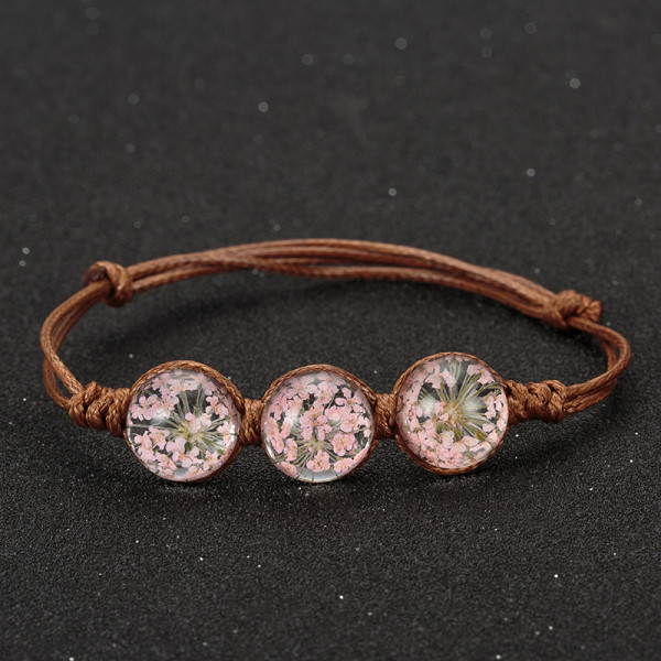 Armband braun, 3 echte Blumen - Rosa