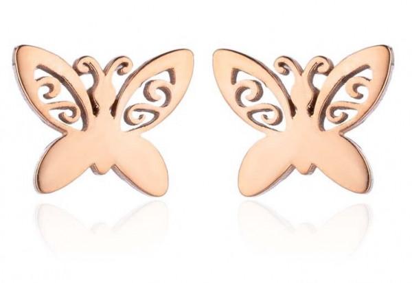 Ohrstecker Schmetterling minimalistisch - Rose-Gold