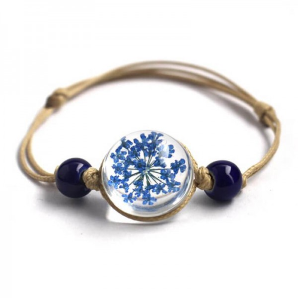 Armband echte Blüte - Blau